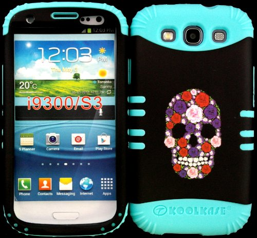 Hybrid Impact Rugged Cover Case Sugar Skull Hard Plastic Snap On Over Baby Teal Silicone For Samsung Galaxy Slll S3 Fits Sprint L710, Verizon I535, At&T I747, T-Mobile T999, Us Cellular R530, Metro Pcs And All front-824039