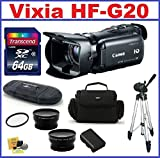Canon VIXIA HF G20 HD Camcorder with HD CMOS Pro Bundle - Kit includes: 64GB SDXC Memory Card + Telephoto & Wide Angle Lenses + Spare Battery + Camera Bag and more..