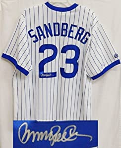 Ryne Sandberg Signed Autographed Cubs Majestic White Cooperstown Collection Jersey