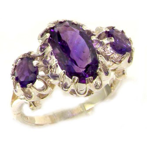 Large Luxury Solid Sterling Silver Natural Vibrant Amethyst Victorian Inspired Ring - Size 12 - Finger Sizes 5 to 12 Available - Suitable as an Anniversary ring, Engagement ring, Eternity ring, or Promise ring