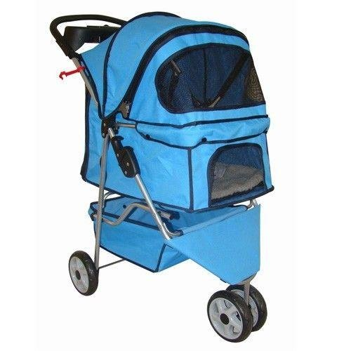 BestPet Pet Stroller Cat Dog 3 Wheel Walk Travel Folding Carrier W/Rain Cover Blue Grid