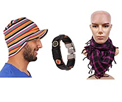 Sushito Trendy Winter Multi Colour Beanies Cap With Wrist Band & With Stylish Headwrap