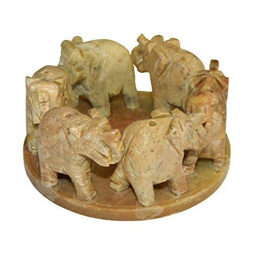 Porta inciensos seis elefantes dentro círculo esteatita