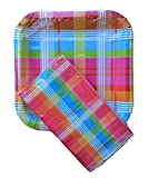 Spring Fling Square Paper Plates and Matching Napkins