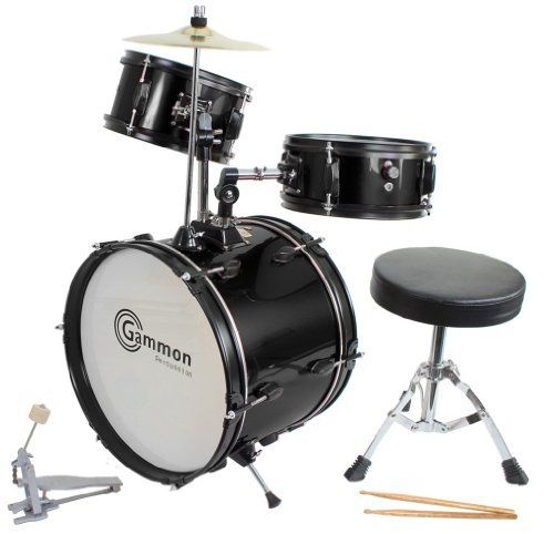 drum-set-black-complete-junior-kids-childrens-size-with-cymbal-stool-sticks-sticks-everything-you-ne