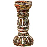 Ved Indian Heritage Fiber Candle Stand (25 Cm X 15 Cm X 04 Cm, Maroon & Green)