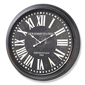 Extra Large Black And White Station Clock 93cm Wall Clock