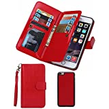For iPhone 7 Wallet Case,Valentoria Premium Vintage Leather Wallet Case Magnetic Detachable Slim Back Cover Card Holder Slot Wrist Strap Case for iPhone 7 (iPhone 7, Red)