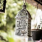 FABULIV LA3001 Large Antique White Decorative Vintage Candle Lantern