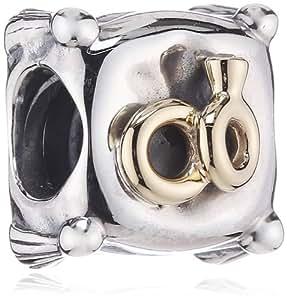 Pandora Damen-Bead Element Kissen Sterlingsilber mit 14k Gold und Diamant 0,02 ct w/vs 790549D