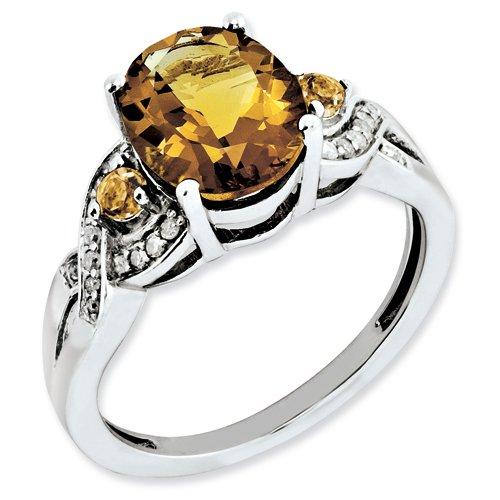 Sterling Silver Diamond & Whiskey Quartz Ring