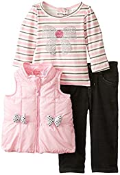 Young Hearts Baby Girls\' 3 Piece Vest Bow Design Shirt and Pant Set, Pink, 18 Months
