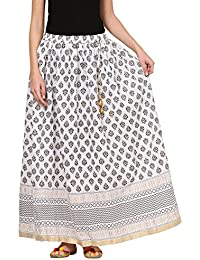 Saadgi Rajasthani Hand Block Printed Handcrafted Pure Rayon Lehnga Skirt For Women/Girls - B06XGJ27CX