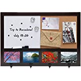 Wall Mounted Dark Brown Wood Whiteboard / Cork Pushpin Memo Board / 4 Hook Rack / 4 Picture Frame Set