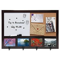 Wall Mounted Dark Brown Wood Whiteboard / Cork Pushpin Memo Board / 4 Hook Rack / 4 Picture Frame Set
