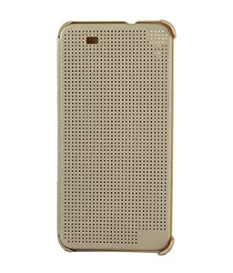 HTC DESIRE M-8 DOTTED VIEW FLIP COVER GOLDEN