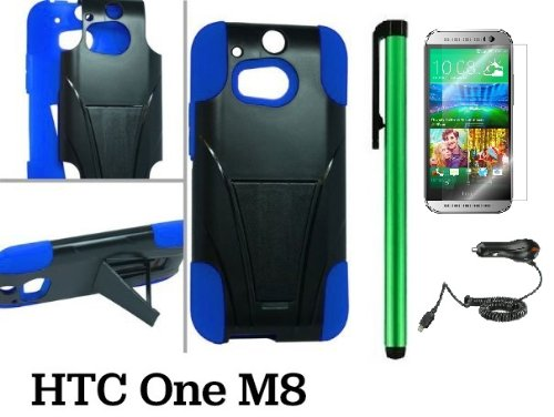 Htc One M8 Premium Heavy- Duty Kickstand Design Protector Hard Cover Case (For 2014 Htc New Flagship Android Phone) + Car Charger + Screen Protector Film + Car Charger + 1 Of New Assorted Color Metal Stylus Touch Screen Pen (Blue / Black)