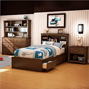 South Shore Nathan Kids Twin Mates Bed 3 Piece Bedroom Set in Sumptuous Cherry Finish