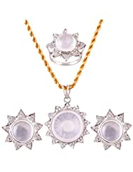 Mariya Impex Classic Collection Silver Pendant Necklace Set For Women - B00YHWN176