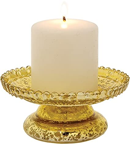 Gold Mercury Glass Diamond Design Candle Stand by Luna Bazaar