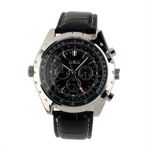 Brand Luxury Gents Men's Black Aviator Automatic Mechanical Watch WM143