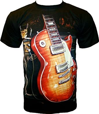 ROCK CHANG T-SHIRT Gibson Guitar - Les Paul Guitare Noir Black R 711 (s m l xl xxl) (S)