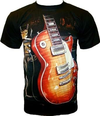 ROCK CHANG T-SHIRT Gibson Guitar - Les Paul Guitare Noir Black R 711 (s m l xl xxl) (XL)