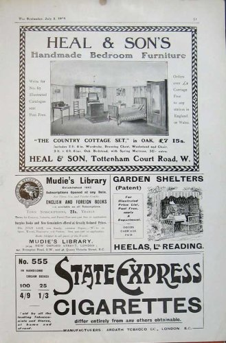 1905 Heal Furniture Mudie Library Garden Cigarette