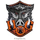 HUGE HOG WILD BOAR HEAD MOTOR BIKER LEATHER JACKET VEST EMBROIDERY MOTORCYCLE OWNER PATCH H.O.G.