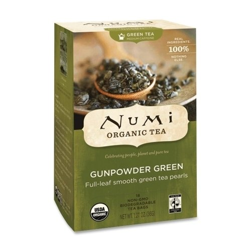 Numi Organic Tea Green Tea, Organic, 18 Bags/Bx, Gunpowder Green *** Product Description: Numi Organic Tea Green Tea, Organic, 18 Bags/Bx, Gunpowder Greentemple Of Heaven Green Tea Contains Whole Leaves That Are Gently Steamed Within Hours Of Bei ***