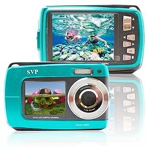 Blue Aqua5500 (8GB MicroSD Card Included) Waterproof Digital Camera with TWO Screens!
