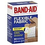 Band Aid Adhesive Bandages, Flexible Fabric, Assorted Sizes, 30 bandages