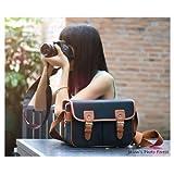 Ghope Black Waterproof Vintage Canvas Camera Bag Messenger Bag for DSLR Camera and Lens Canon 5DII 7D Nikon D90