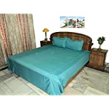 Amita's Home Furnishing Firozi Color Elastic Fitted 4 To 6 Inch MatressDouble Bedsheet With 2 Pillow Cover