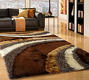 Shaggy living room brown 55 area rug 5 ft for Living room rugs amazon