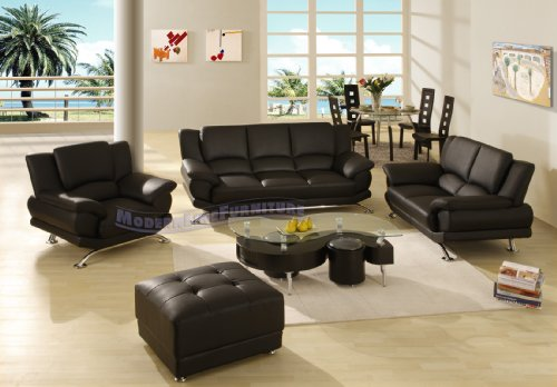 Complete Modern Leather Living Room set with Dining Table + Four Chairs, Coffee Table, and Ottoman