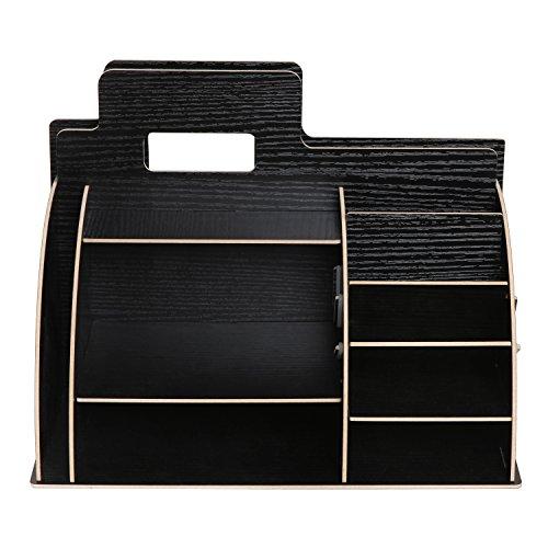 Black Wooden Portable Desktop Office Supply Organizer Storage Caddy w/ Folder, Document Holder Mail Slot