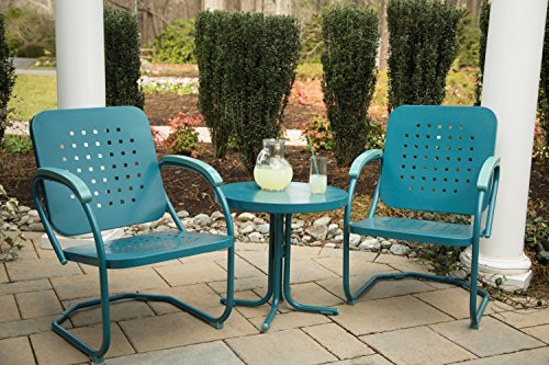 Hanover 3-Piece Retro Outdoor Steel Patio Set, Caribbean Blue