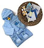 Sunshine Gift Baskets - 11 Piece Bath Time Gift Set - Baby Bath Robe and Slippers (Blue) with Burt's Bees Shampoo and Lotion