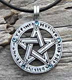 Pewter Pentagram with Runes Pendant w/ 5 Swarovski Crystal Aquamarine March Birthstone, Leather Necklace