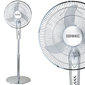 Duronic FN40C Chrome / Silver 16 inch Oscillating Pedestal (Stand) Fan with weighted round base, 50 Watt