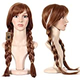 DAKIA Disney Movie Frozen Princess Anna Wig Snow Queen/Cosplay/Party Wig For Both Children and Adult with Free Hair Cap