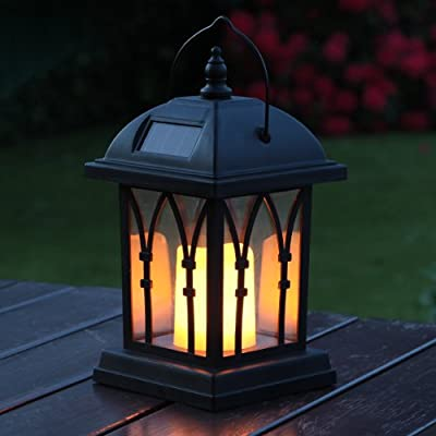 Black Flickering LED Solar Powered Candle Lantern