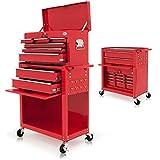 Chariot à outils - Servante d'atelier rouge - compartiment fermable - roulettes