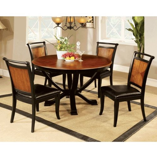 Lianne Acacia Cottage Style Black Finish 5 Piece Round Dining Table Set