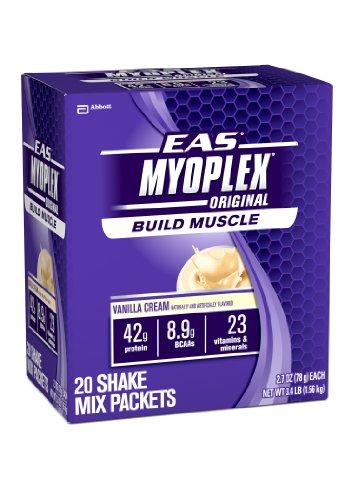 EAS Myoplex Original Nutrition Shake Powder, Vanilla Cream, 2.7-Ounce Packets, 20 Count