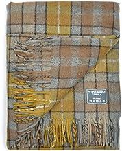 Classic Wool Blanket Throw Rug in Natural Buchanan Tartan