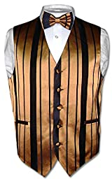 Men\'s Dress Vest & BOWTie GOLD & BLACK Woven Striped Design Bow Tie Set sz L