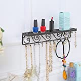 Wall Mounted Black Metal Scrollwork Design Cosmetics Storage Shelf w/ 25 Necklace Hanging Hooks - MyGift®