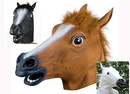アニマルマスク コスプレ【G1レース馬3巨頭】 (白 茶 黒)白馬 栗毛 黒馬 ラバーマスク 忘年会 新年会 余興 パーティー 3点セット